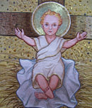 Nadelmalerei-Jesuskind um 1885