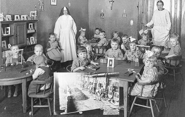 In den Zeiten der Hochindustrialisierung (kleines Foto) war ein Kinderhort wie der im alten Generalat in Simpelveld ein Segen. Fotos: AZ-Archiv/PIJ-Archiv